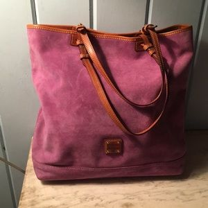 Dooney and Bourke Raspberry Suede and Leather Tote